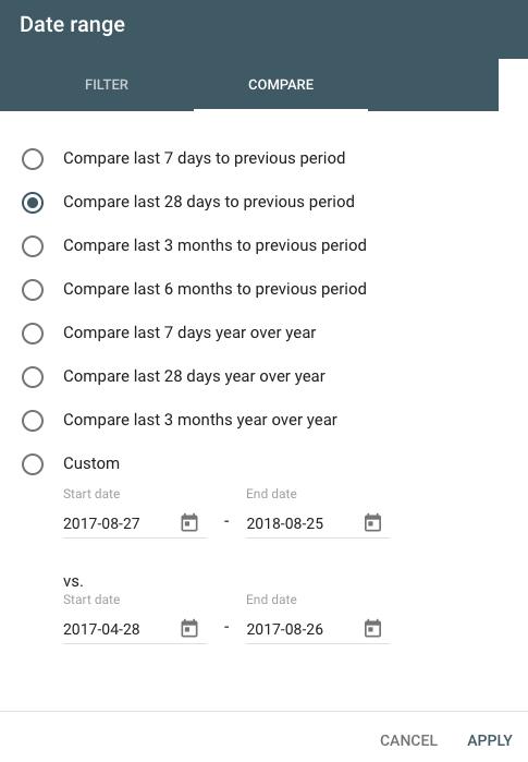 google search console date range selector