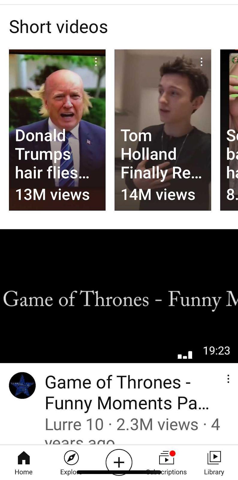 Área de video corta de la aplicación YouTube