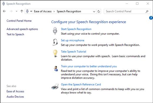 Configurar el reconocimiento de voz de Windows 10