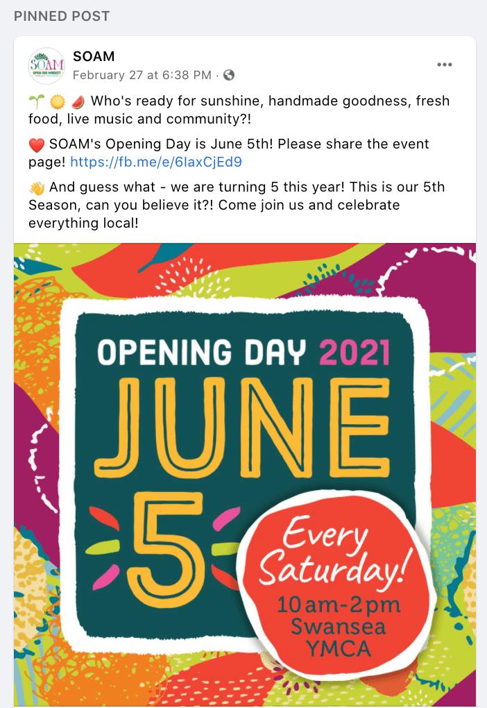 Publicación del evento SOAM en Facebook