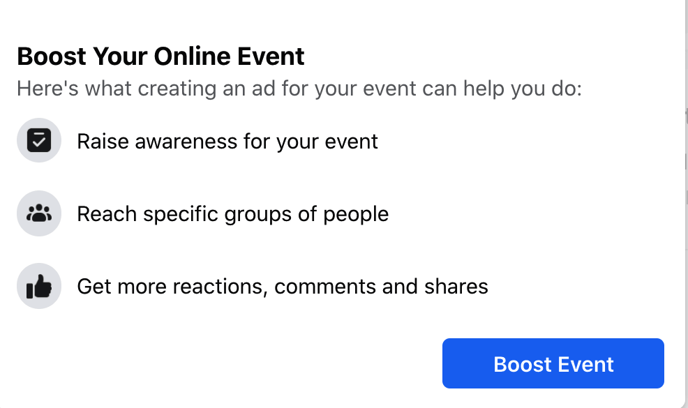 La ventana emergente Impulsa tu evento en línea de Facebook
