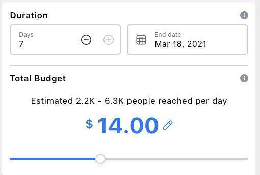 La sección de duración y presupuesto de un anuncio cuando está completando el formulario de anuncios en Facebook