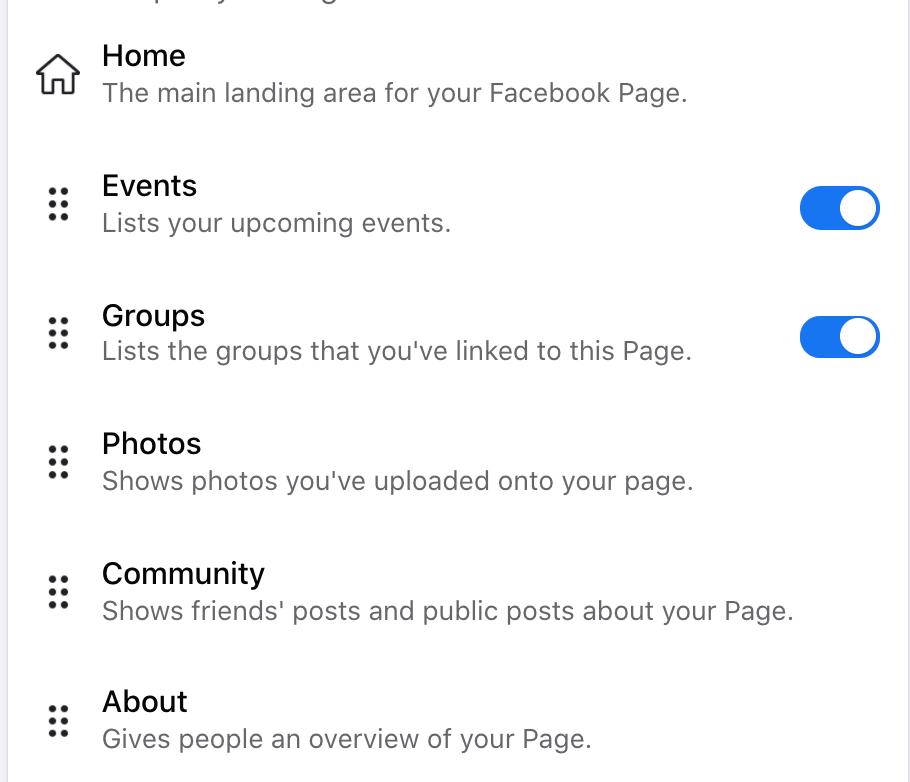 La página de configuración donde puede reorganizar las pestañas en su página de negocios de Facebook