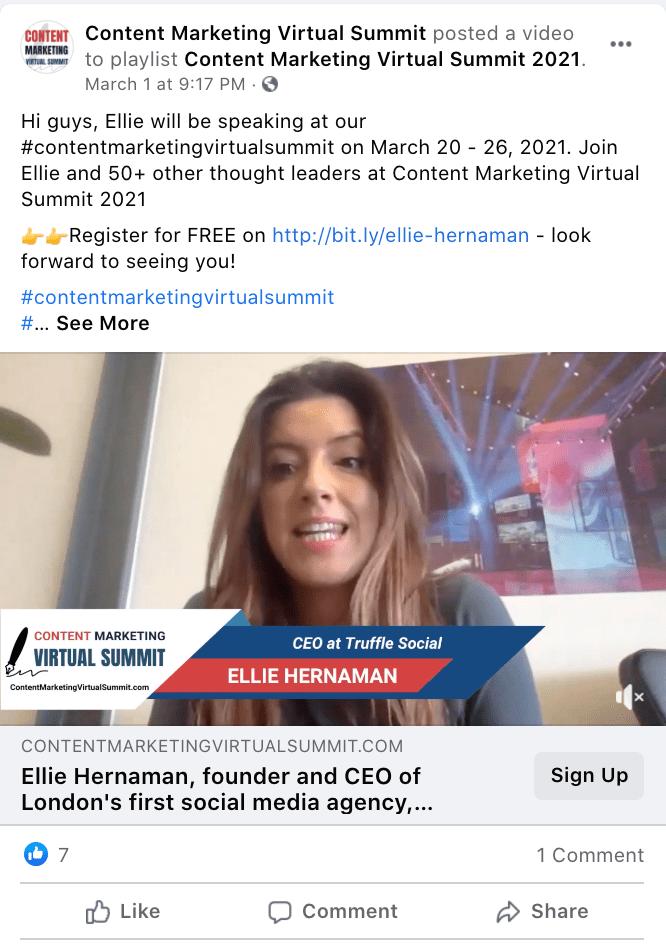 Video de Facebook de Content Marketing Virtual Summit que destaca a Ellie, una oradora de su Content Marketing Virtual Summit