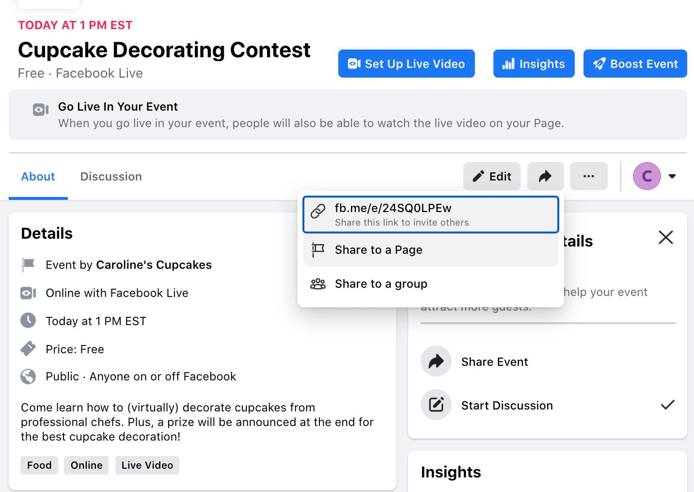 El botón Compartir en su Contenido de decoración de cupcakes, donde puede copiar un enlace para compartir con otros fuera de Facebook.