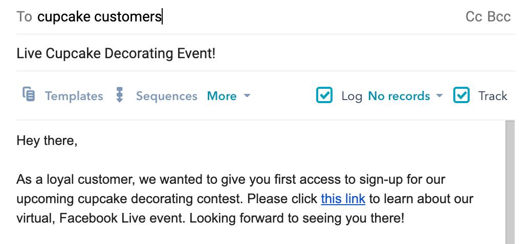 Un correo electrónico a los clientes de magdalenas de Caroline, transmitiendo un próximo contenido de decoración de magdalenas con un enlace al evento de Facebook.