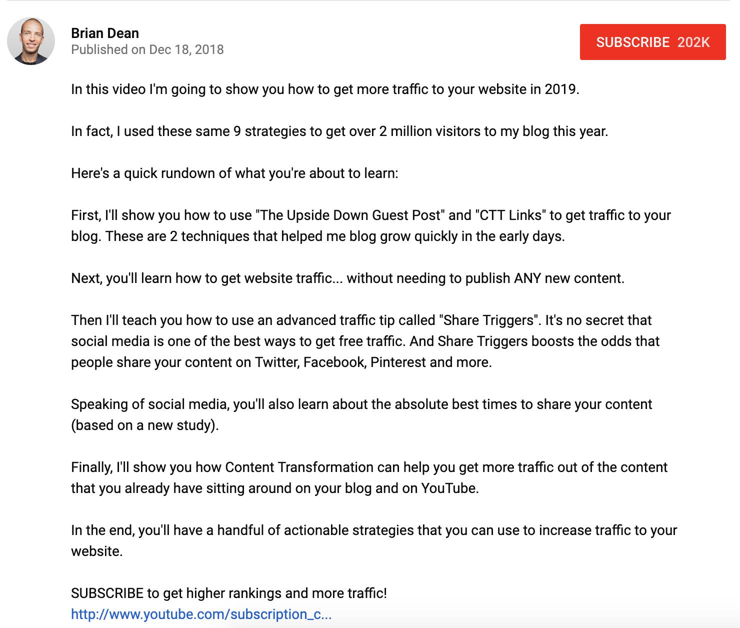 Descripción del video de YouTube de Brian Dean