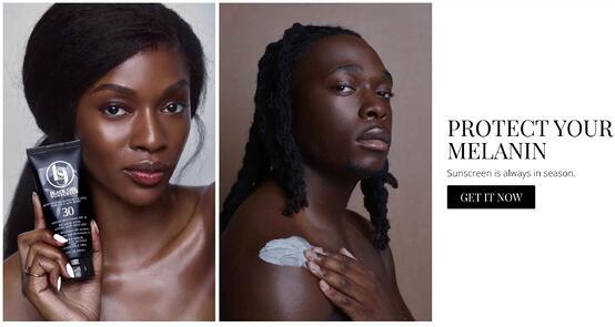 """mensaje de marketing de la página de inicio de protección solar de chica negra """"protege tu melanina.  el protector solar siempre está en temporada."""""""