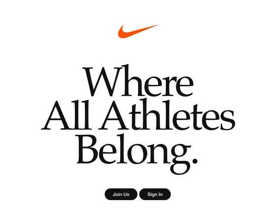 mensaje de marketing de la página de inicio de nike 'a la que pertenecen todos los atletas'