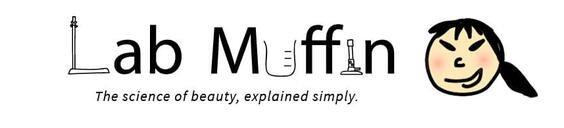 """logotipo de muffin de laboratorio con mensaje de marketing que dice """"la ciencia de la belleza, explicada simplemente."""""""