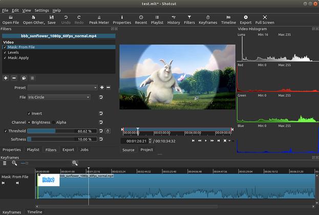 Archivo de máscara del software de edición de video Shotcut