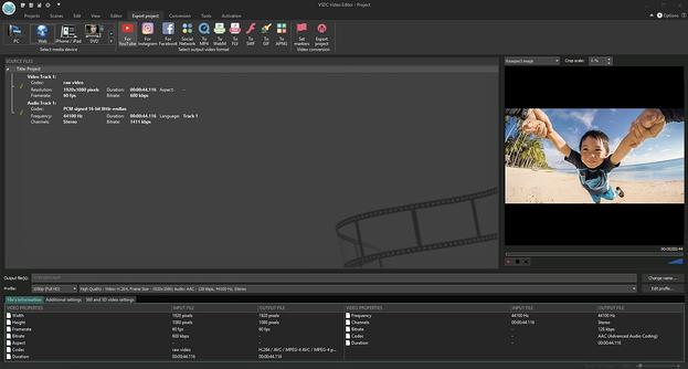Software de edición de video VSDA utilizado en la grabación