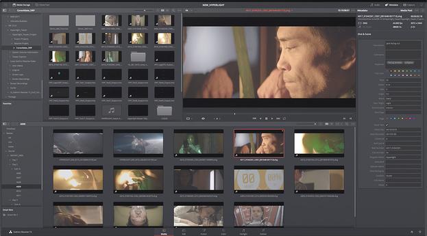 Software de edición de video DaVinci utilizado en escenas de películas
