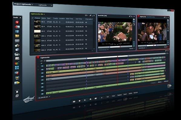 Software de edición de video LightWorks que muestra archivos de audio en capas