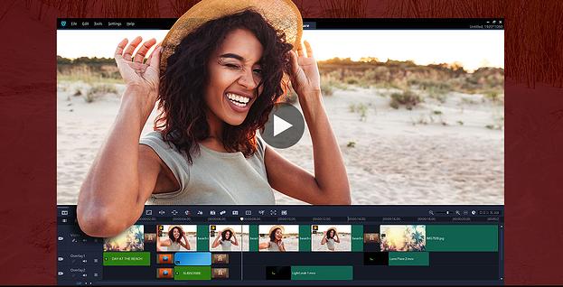 Software de edición de video VideoStudio que muestra una toma de una mujer y capas de audio
