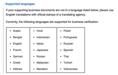 los idiomas que Facebook admite para insignias verificadas