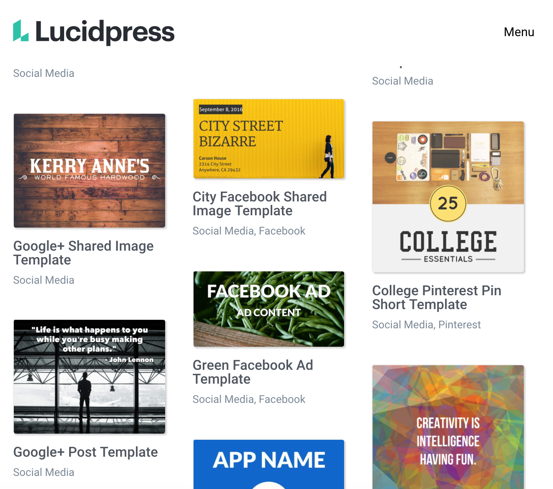 Página de inicio de Lucidpress