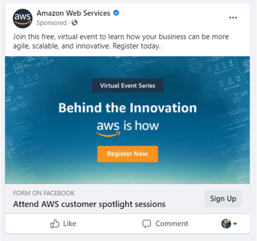 anuncio de facebook de servicios web de amazon