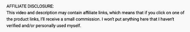 ejemplo de divulgación de afiliados en YouTube