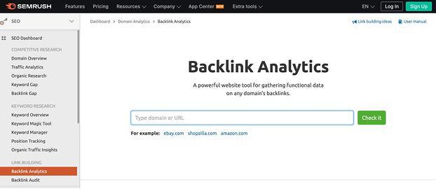 Herramienta de análisis de backlinks de SEMrush