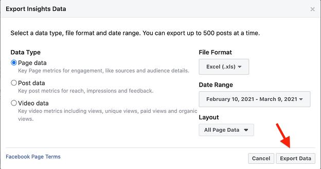 página de datos de exportación de Facebook Insights