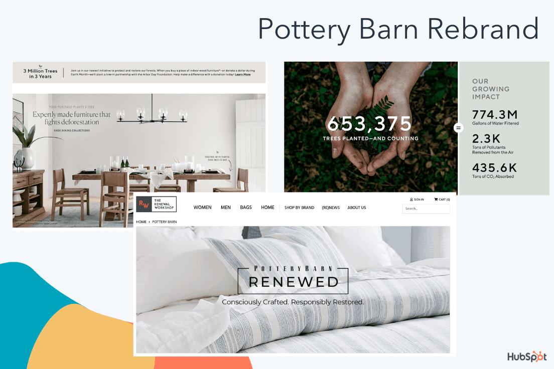Materiales de cambio de marca de Pottery Barn