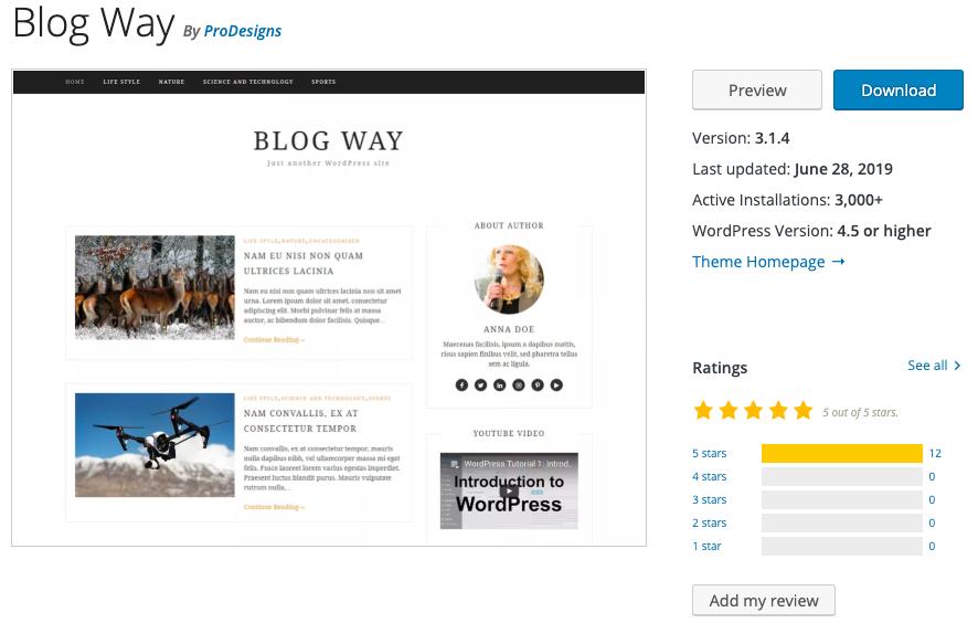 Blog Way tema gratuito para blogs de WordPress