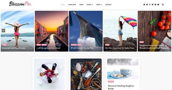 Blossom Pin tema gratuito para blogs de WordPress