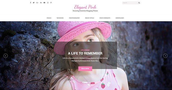 Elegante tema de blogs gratuito de WordPress Pink