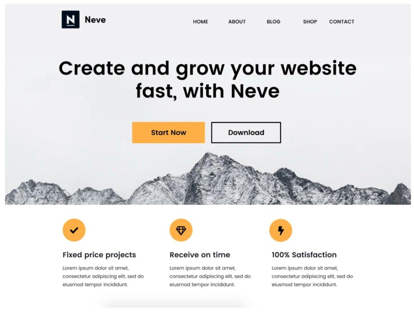 Tema gratuito de blogs de WordPress Neve