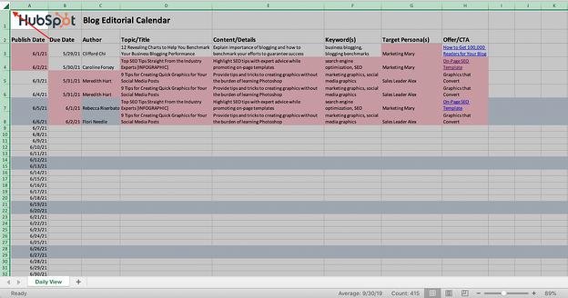 Captura de pantalla de un documento de Excel con toda la hoja resaltada.
