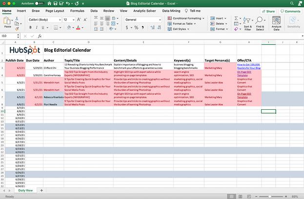 Hoja de Excel con duplicados resaltados.