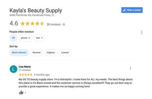 Cliente feliz deja reseña en Google