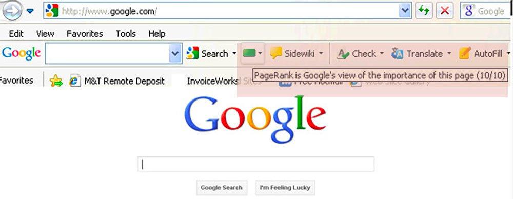 La barra de herramientas de PageRank