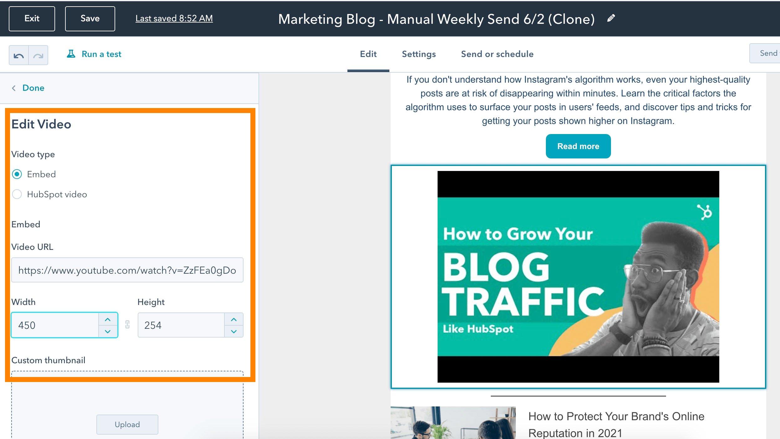 Editar un video para agregarlo a una copia de correo electrónico de HubSpot