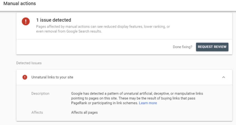 Botón de solicitud de revisión de Google para eliminar un vínculo de retroceso