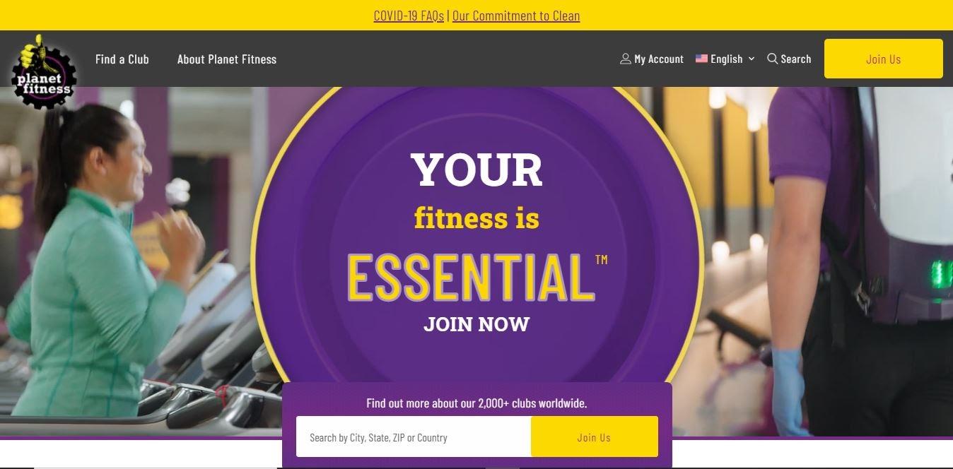 Sitio web de Planet Fitness.
