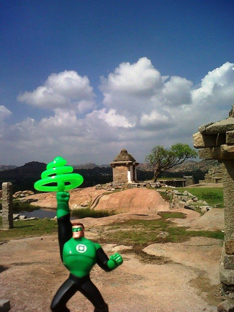 green lantern hampi river monuments