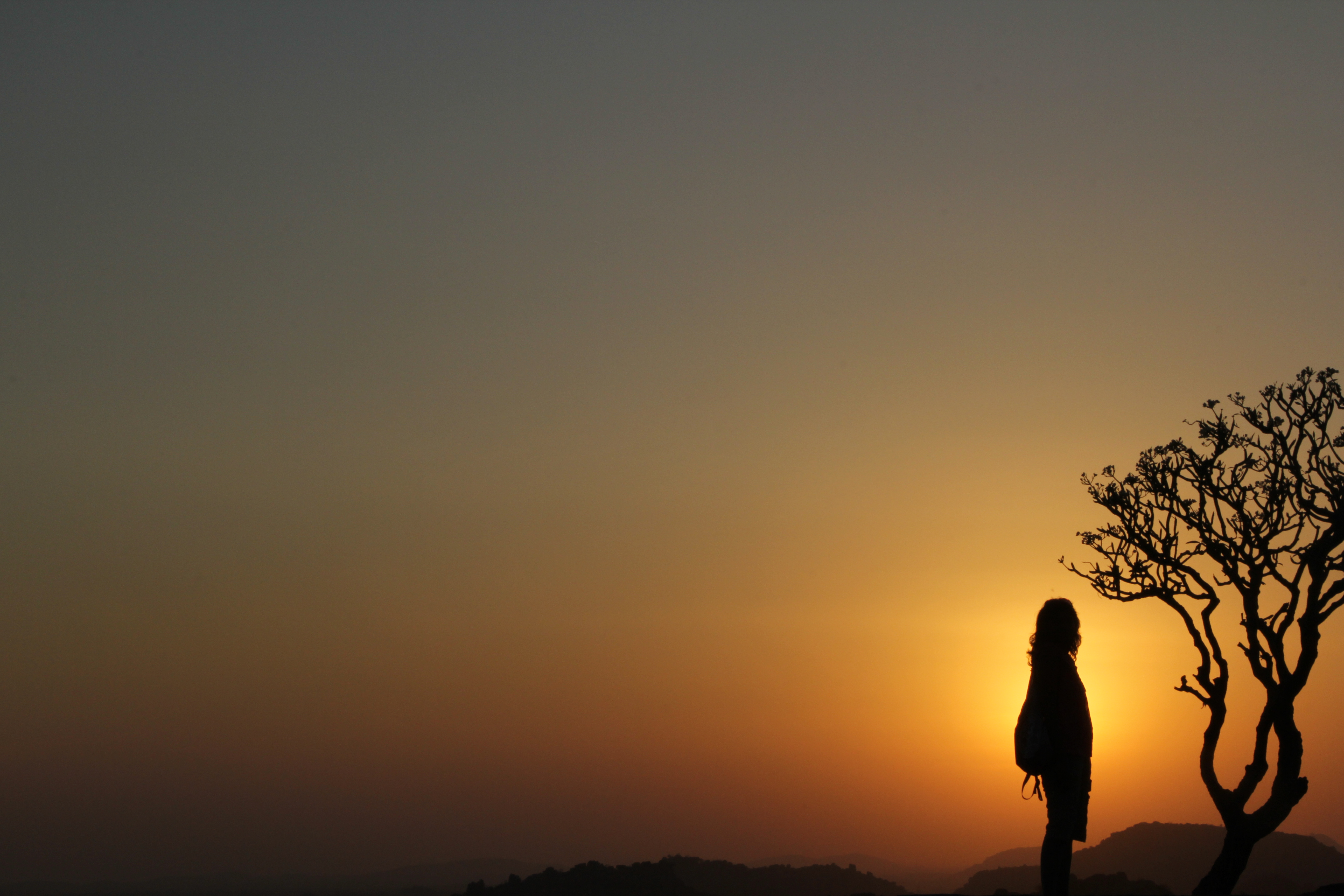 Sunset at Hampi with PErson