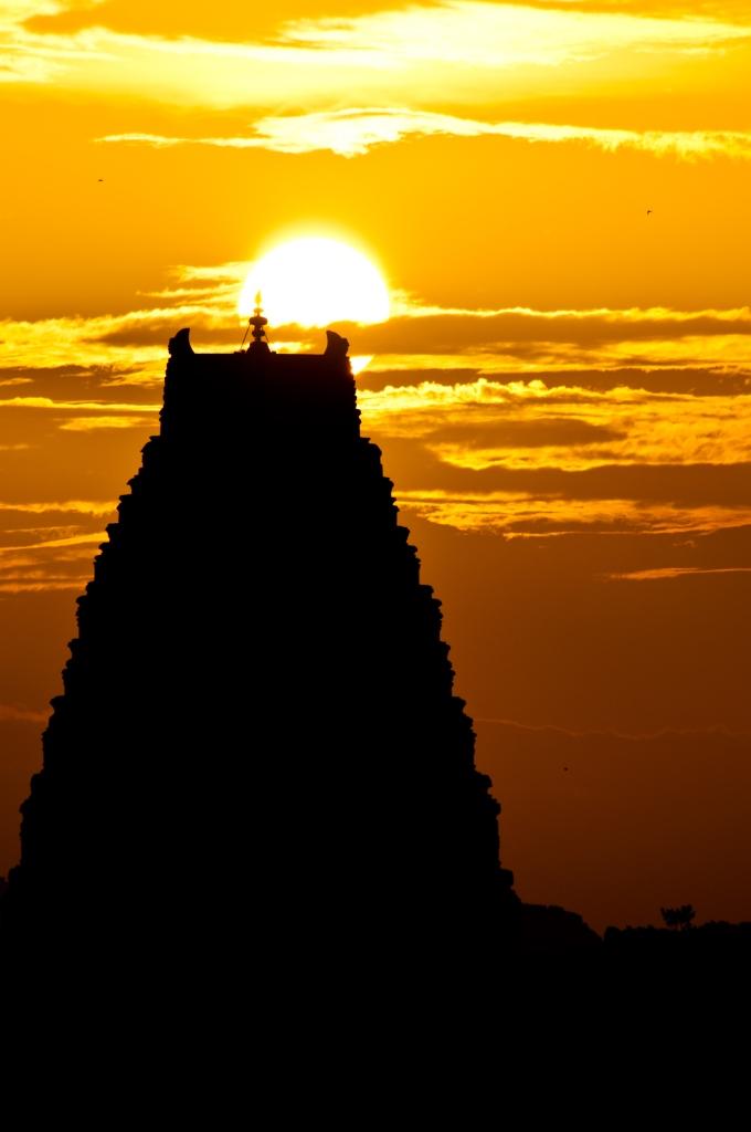 Sunset at Virupaksha Temple Hampi