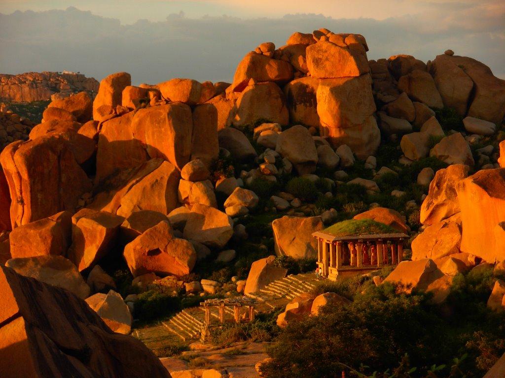 Sunset at the rocks Hampi
