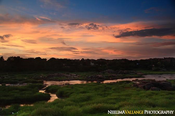 Sunset over Tungabadra Hampi