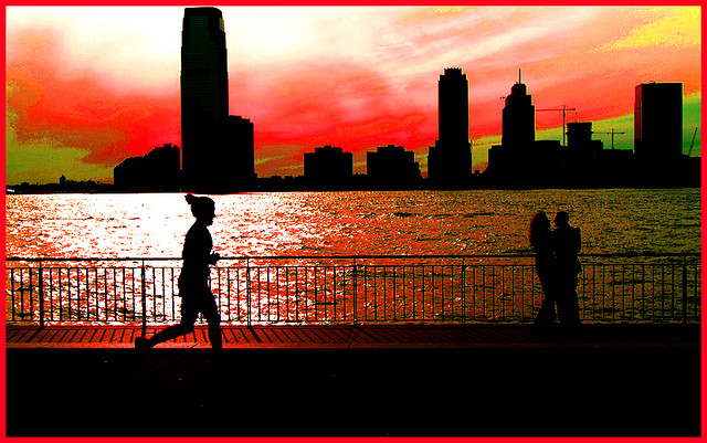 Running under a red sky Picture by David Robert Bliwas