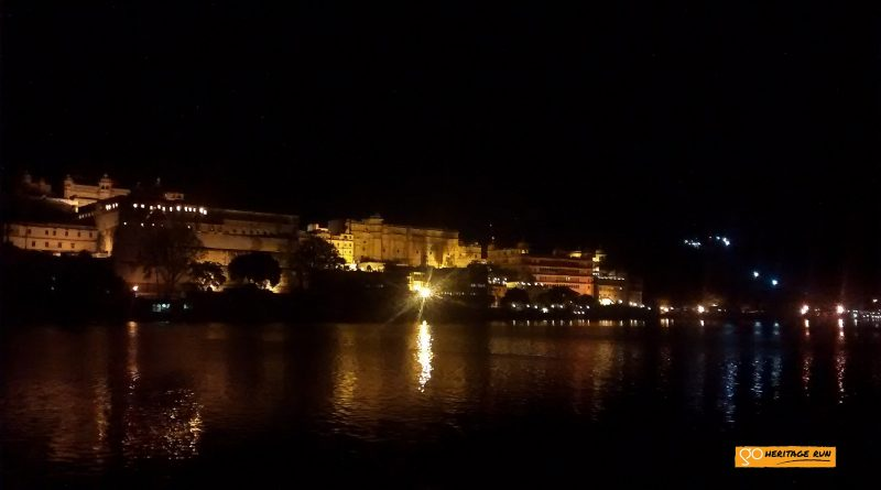 The Udaipur palace complex at night