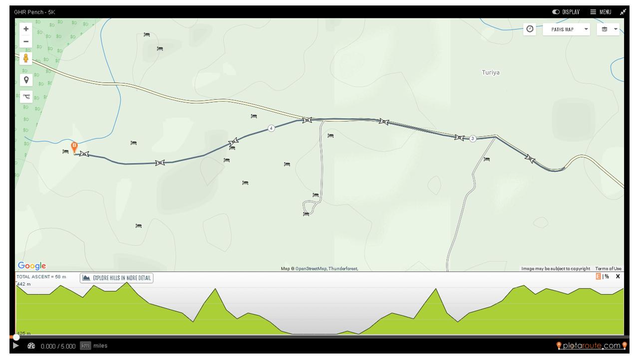 GHR Pench 5K Run Route