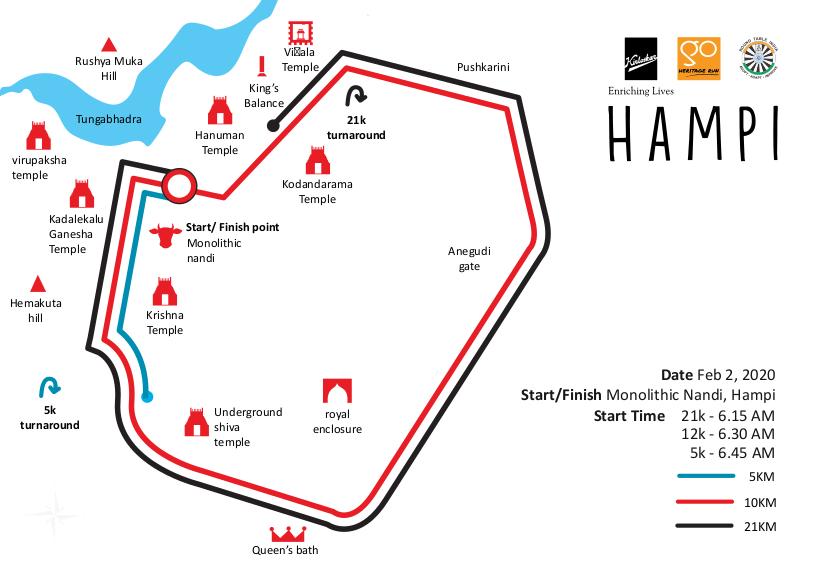 Go Heritage Run Hampi 2020 Run Routes