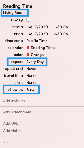 My personal reading schedule - notice the highlighted fields.