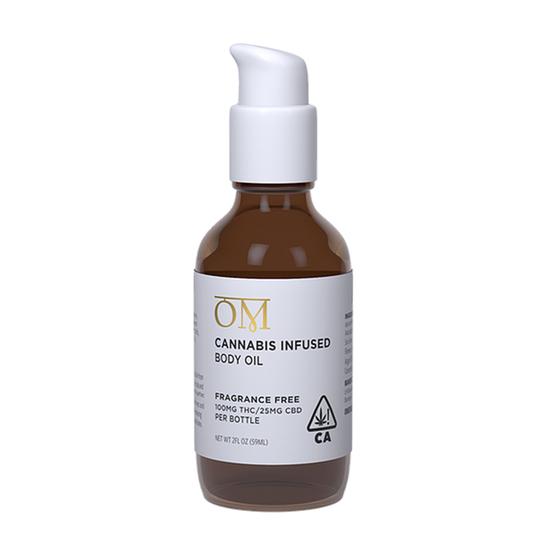 OM Body - Fragrance Free Bath & Body Oil (100mg THC / 25mg CBD)