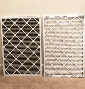 dirty & clean air filter after Camp Fire