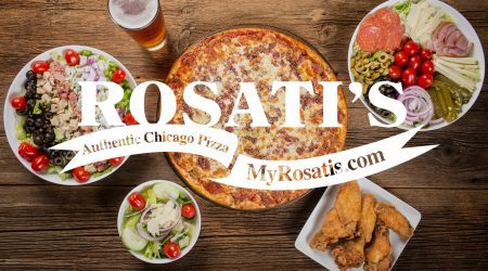 Rosati's Pizza and food with layover logo